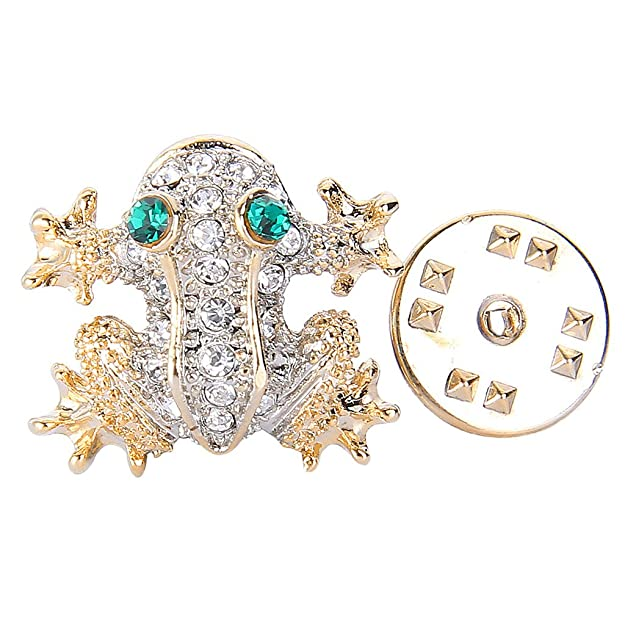 1940s Costume Jewelry: Necklaces, Earrings, Brooch, Bracelets EVER FAITH Austrian Crystal Cute Green Eyes Climbing Frog Animal Lapel Pin Clear Gold-Tone $16.99 AT vintagedancer.com