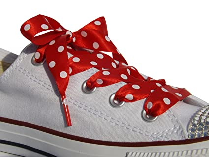 dc684881267286 High Fashion Red Polka Dot Satin Ribbon Shoe Laces   Shoe Strings To Fit  Converse Sneakers