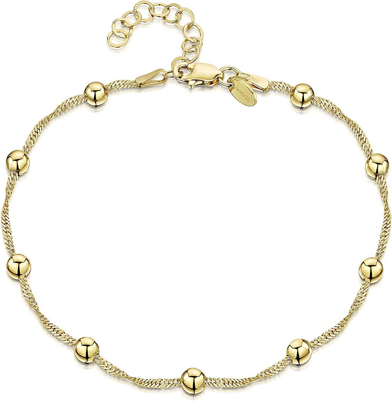 Amberta 925 Fina Plata de ley - 18K Chapado en Oro - Brazalete de Tobillo - Pulsera de Clásico - 22 a 25,5 cm - Ajuste Flexible