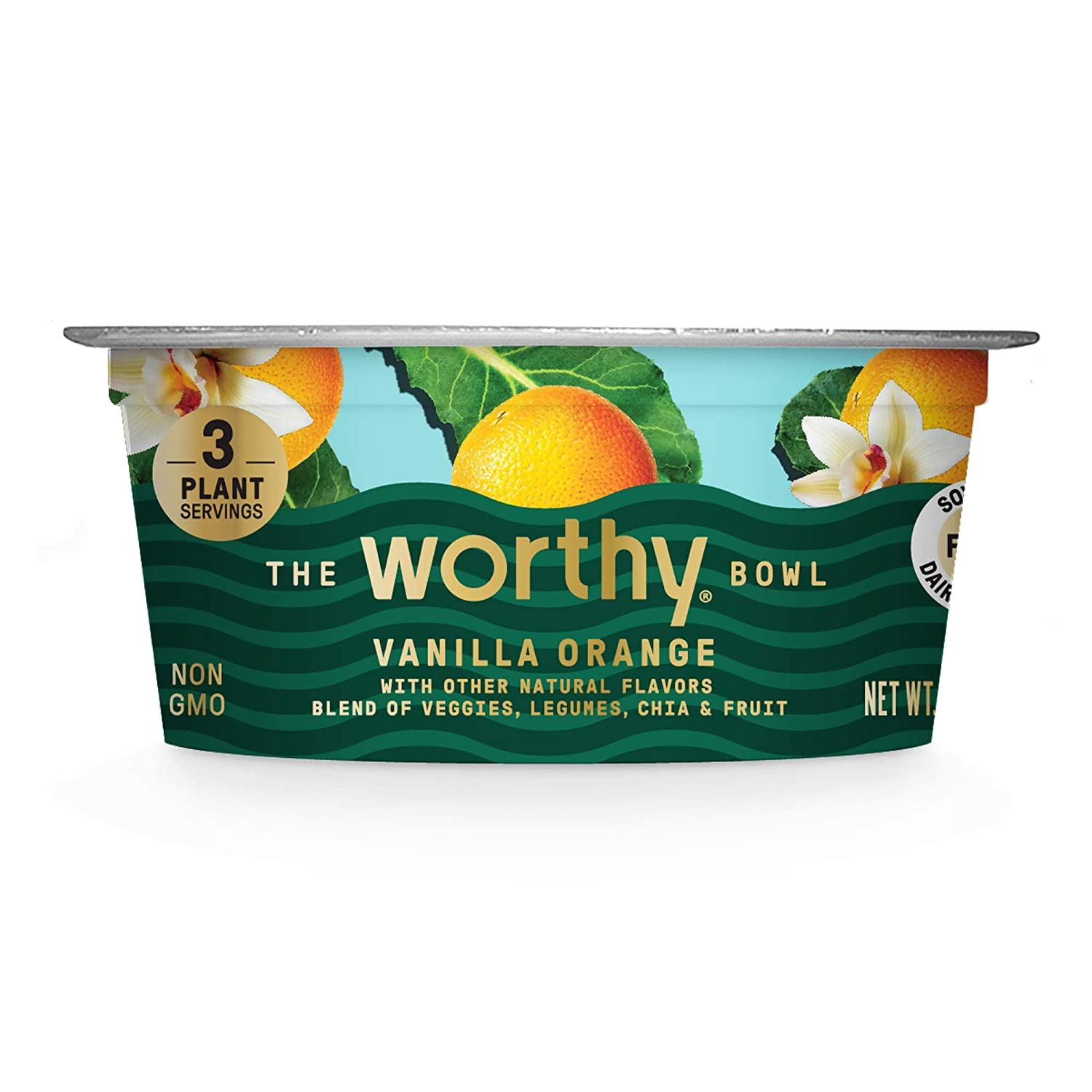WORTHY BOWL Blended Veggie and Fruit Bowls | Vegan, non-gmo, gluten free | High protein, high fiber, low sugar healthy snacks or meals for adults | 5.7 Oz Bowls | (Vanilla Orange, 6 Pack)