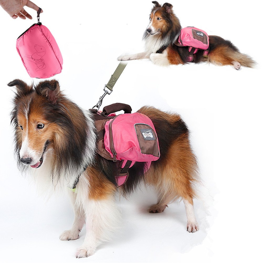 Dog Hiking Packs, Foldable Breathable Pets Saddlebag Backpack Carrying Bags for for Medium & Large Dogs Outdoor Travel Camping Training to storage Snack Daily Necessities(L-Pink)