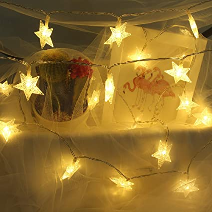 Veeca String Lights Star Fairy Lights Battery Operated with 40 Warm White  LED Lights for Bedroom Decoration Festivals and Parties (Batteries Included)