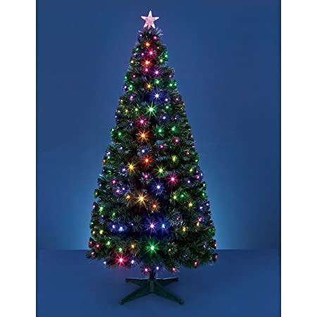 Deluxe 5ft Green Frosted Fibre Optic Christmas Xmas Tree Pine w/ Multicolor  LEDs PLASTIC Stand - Deluxe 5ft Green Frosted Fibre Optic Christmas Xmas Tree Pine W