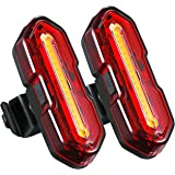 TOPELEK USB Rechargeable Bike Rear Light, 2 Powerful LED Bike Tail Lights Waterproof with 5 Light Modes and 2 USB cables, Super Bright & Easy Installation, Headlight Taillight Combinations for Cycling Safety Flashlight Helmet Mountain Bike Bicycle Kids Girls (2 Packs)