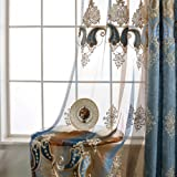 AiFish Embroidered Sheer Curtains with Beautiful