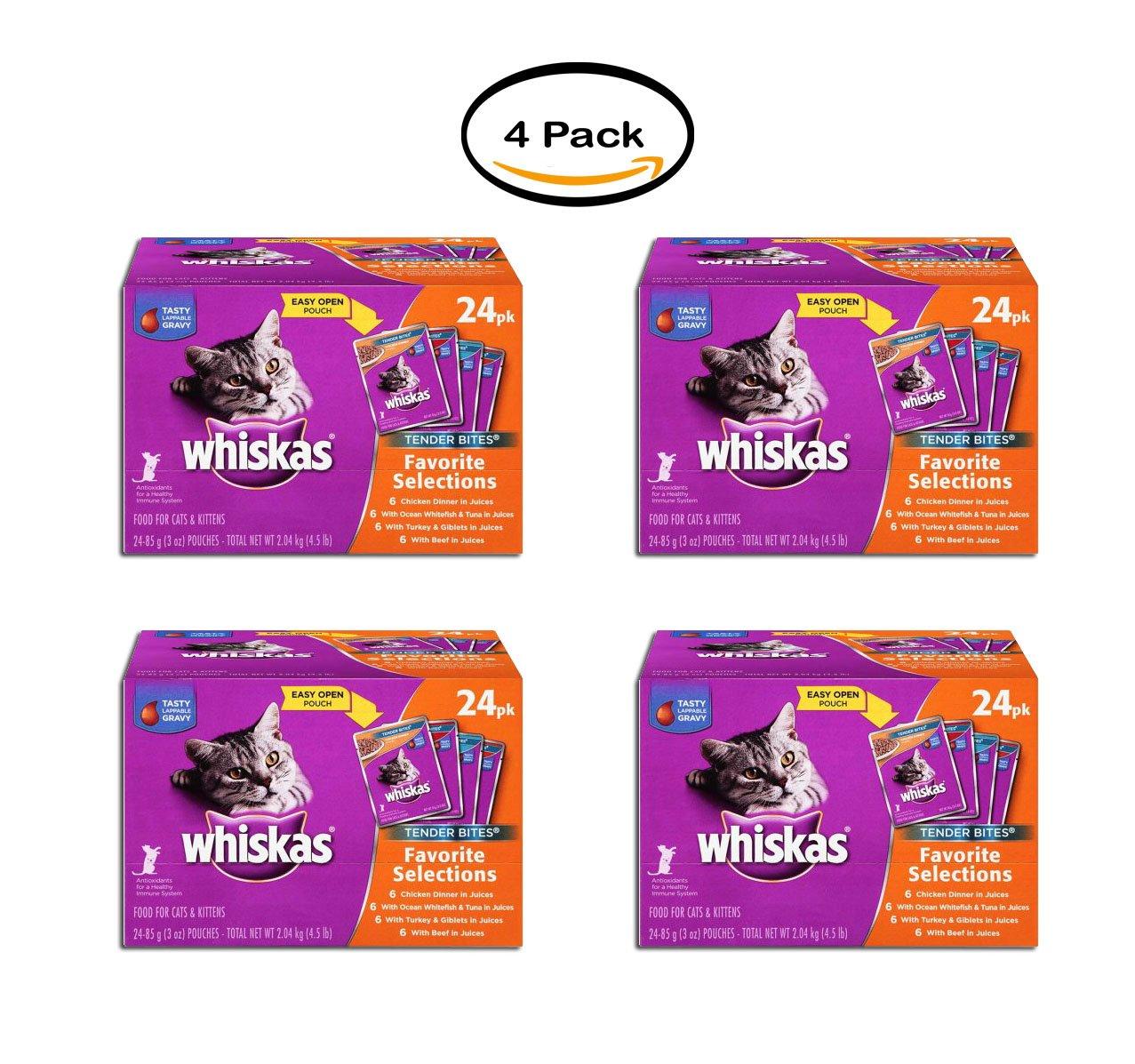 PACK OF 4 - WHISKAS TENDER BITES Favorite Selections Variety Pack Wet Cat Food 3 Ounces (Pack of 24)