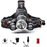 AUSELECT 3LED Headlamp, XM-L T6 High Lumen Waterproof 3 Led 5 Modes Sensor Control Silver Plated