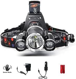 AUSELECT 3LED Headlamp, XM-L T6 High Lumen Waterproof 3 Led 5 Modes Sensor Control Silver Plated