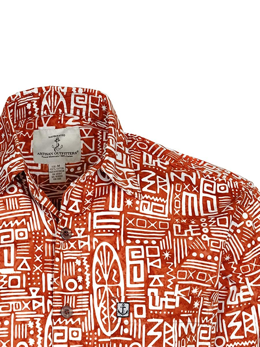 3XB, Orange//White Artisan Outfitters Mens Surfboard Longboard Batik Cotton Hawaiian Shirt A0214-53-3XB