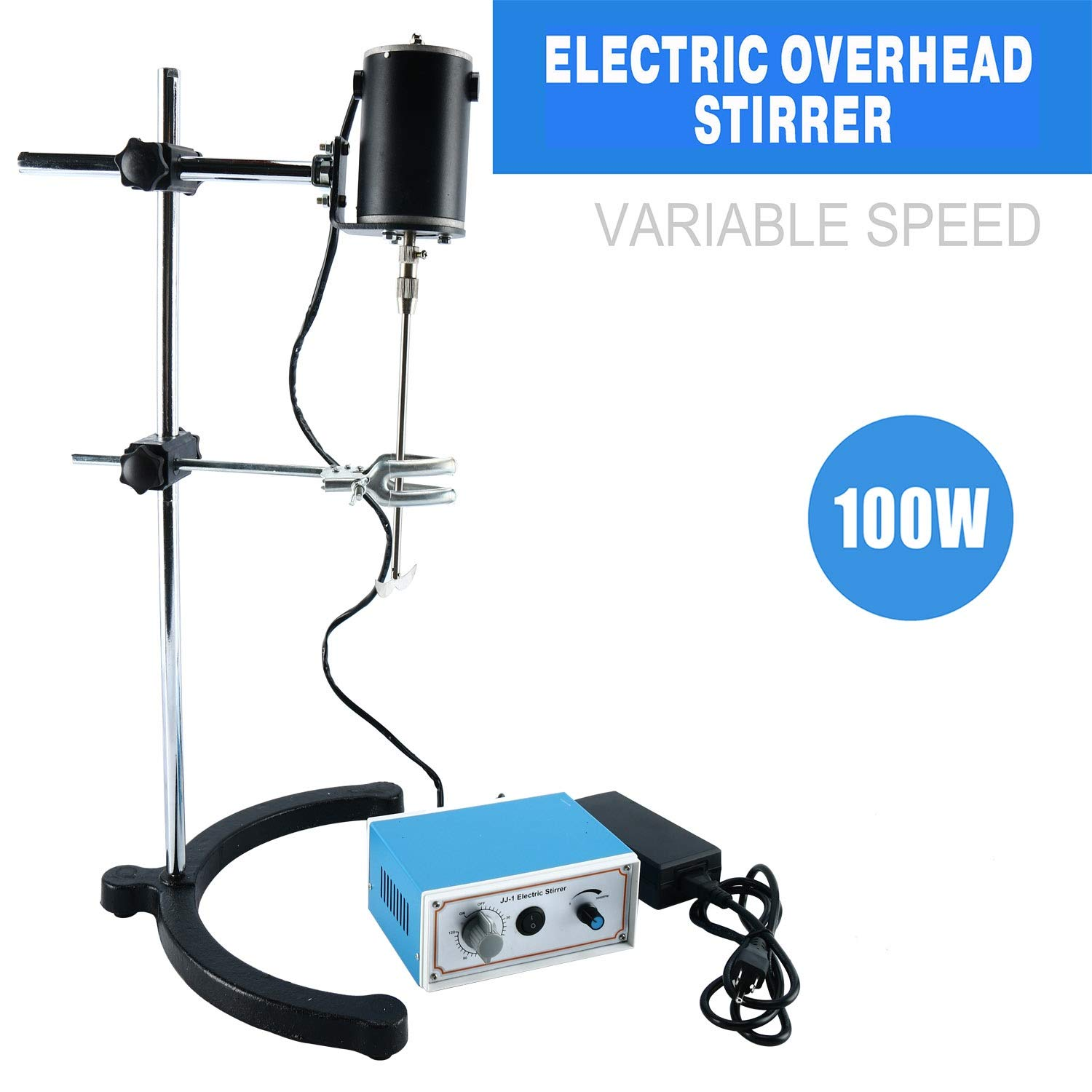 YaeCCC Electric Overhead Stirrer Mixer Blender Lab Mechanical Mixer 100W Variable Speed 0-120 Minute 0-3000 RPM for Lab Mechanical Mixer by YaeCCC