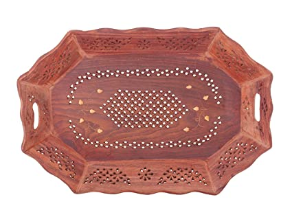 Bandeja de madera, Bandejas decorativas con incrustaciones de diseño redondeado, Bandejas de madera con