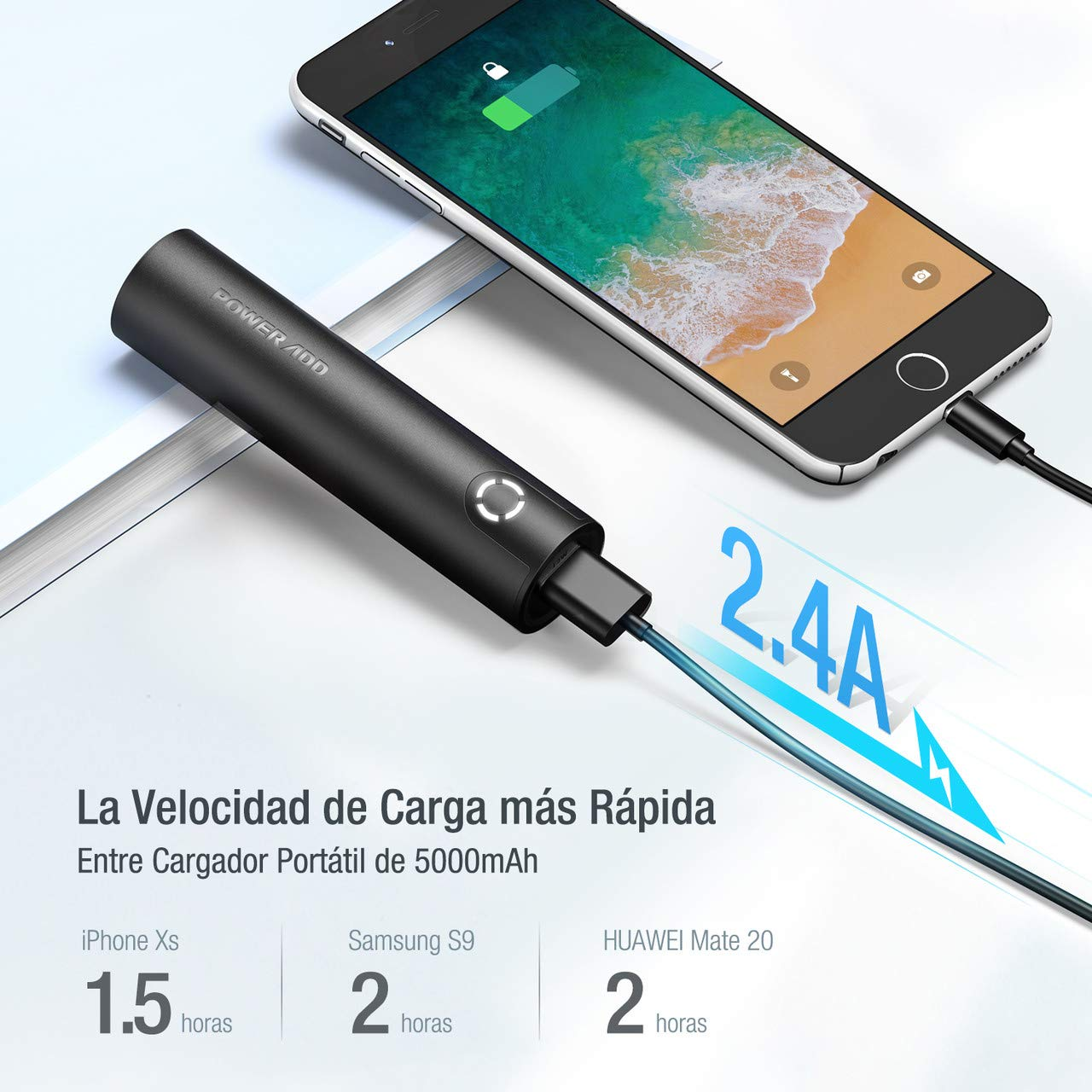 POWERADD Energy Cell 5000mAh Power Bank Cargador Portátil para iPhone,Samsung,Huawei y Más Dispositivos-Negro