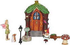 Pacific Trading Miniature Fairy Garden Figurines Starter Kit 8 Piece Set Mini Fairie Door Gnome