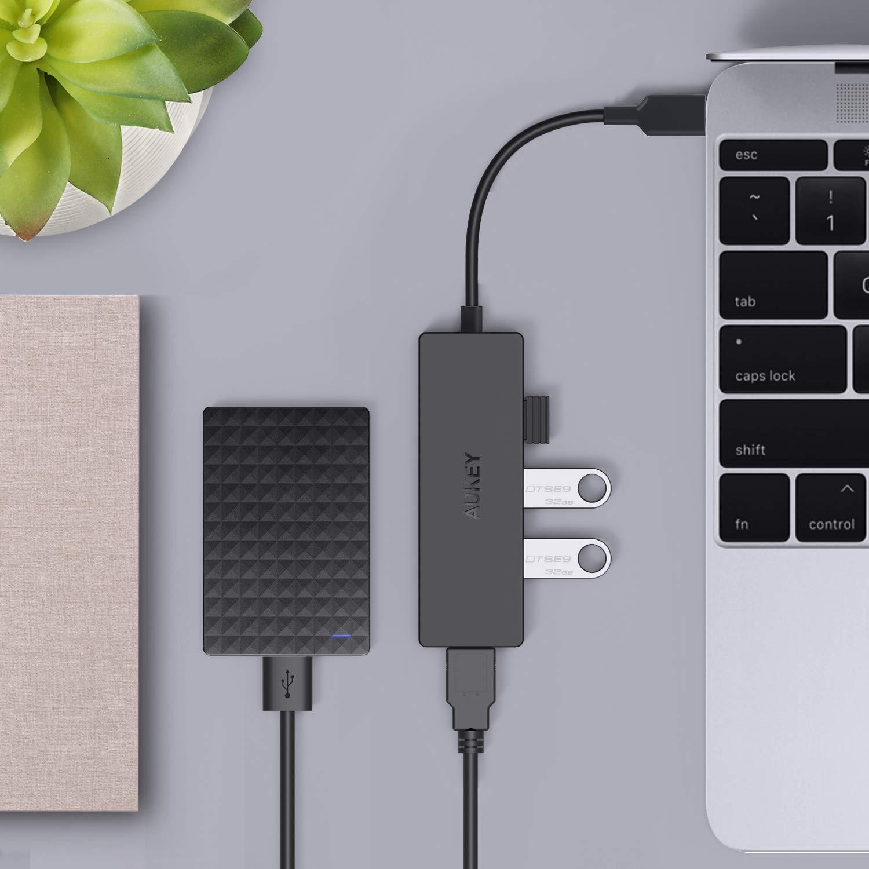 Google Chromebook Pixel AUKEY Hub USB C in Alluminio 4 Porte USB 3.0 Adattatore USB C Super Sottile per MacBook PRO 2017//2016 Samsung S9//S8 e Molti Altri Dispositivi Compatibili