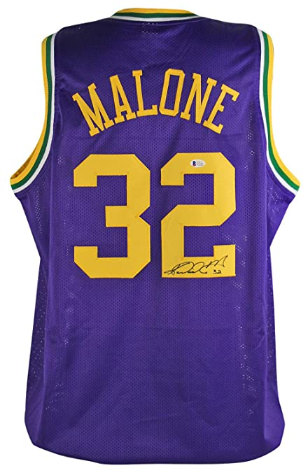 276714427 Image Unavailable. Image not available for. Color  Jazz Karl Mailman Malone  Autographed Signed Purple Throwback ...