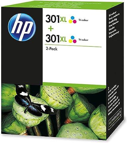 HP 301XL 2-Pack Tri-Color - Cartucho de Tinta para impresoras (Cian, Magenta, Amarillo, 330 páginas, HP Deskjet): Amazon.es: Oficina y papelería