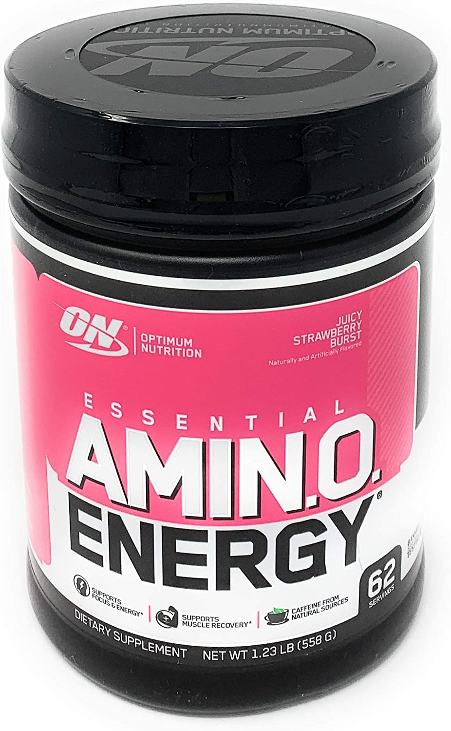 Optimum Nutrition Essential Amino Energy, Juicy Strawberry Burst, Preworkout and Postworkout Recovery with Essential Amino Acids and Caffeine from Natural Sources, 62 Servings, 1.23 lb, Pack of 1