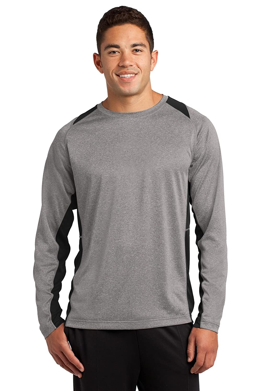 b282c937 Amazon.com: Sport-Tek Long Sleeve Heather Colorblock Contender Tee. ST361LS  Vintage: Clothing