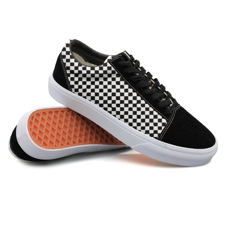 Ouxioaz Womens Skateboarding Shoes Suede Black White Checkered Sport Sneaker