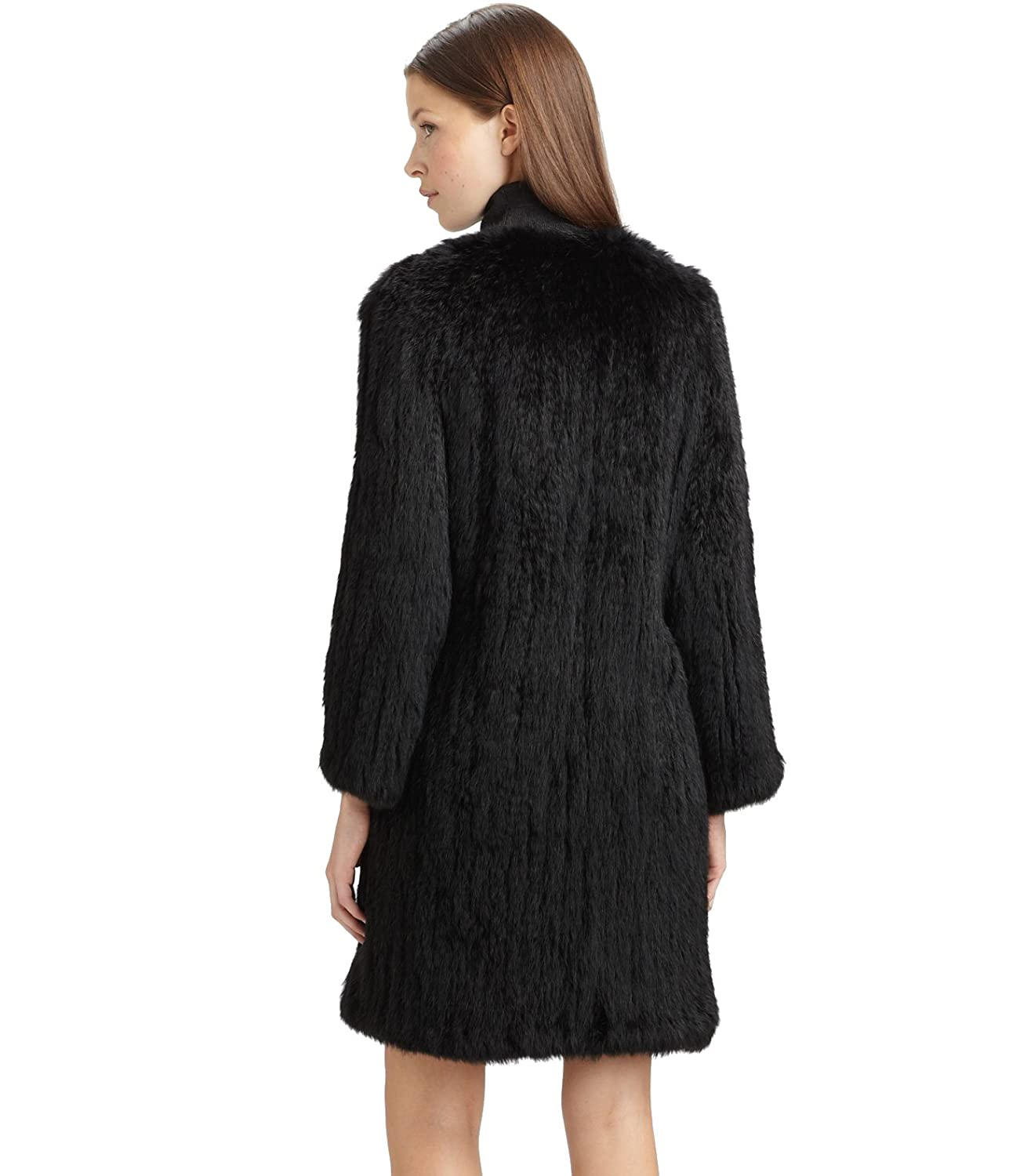 Topfur Women's Black Cardigan Knitwear Real Rabbit Fur Coat