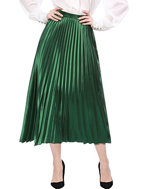 1920s Skirts, Gatsby Skirts, Vintage Pleated Skirts Allegra K Womens Zip Closure Accordion Pleated Metallic Midi Party Skirt $24.99 AT vintagedancer.com