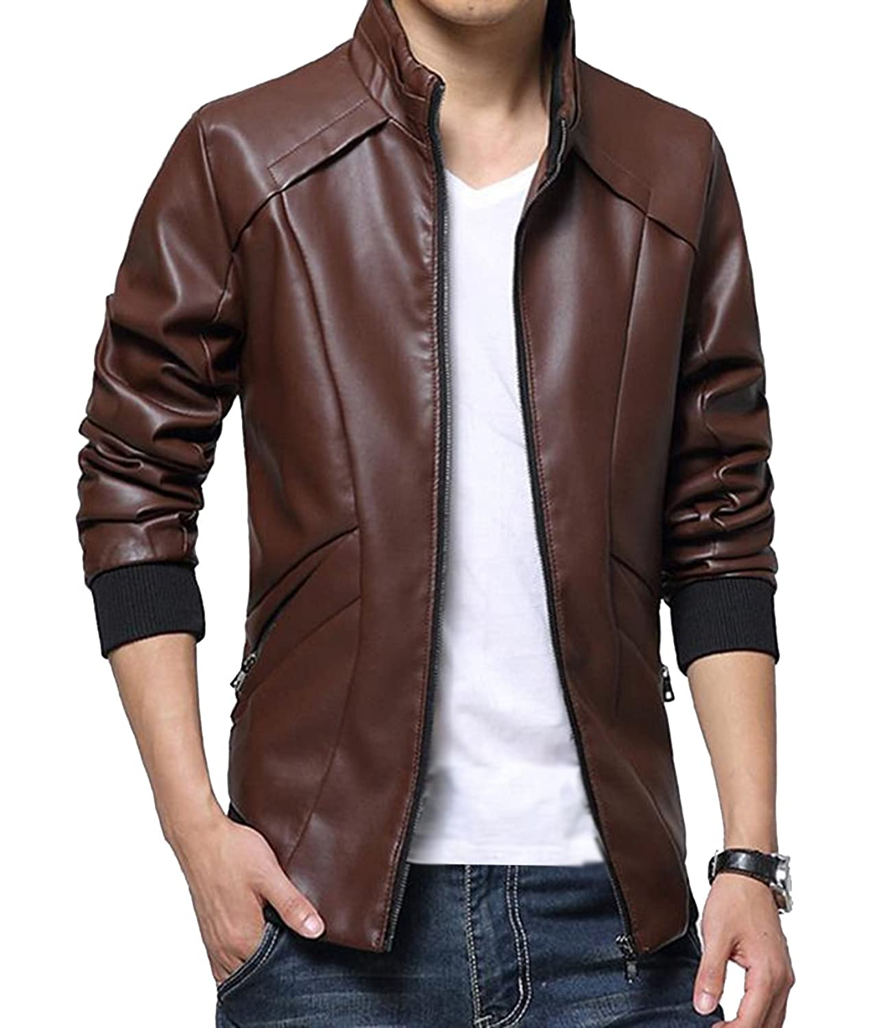Men's Fashion Cool Slim Fit Pu Leather Long Sleeve Jacket