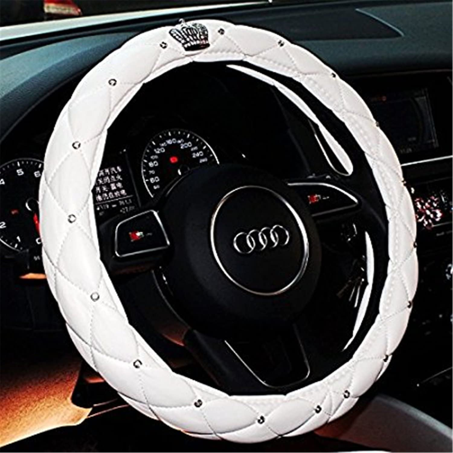 Mai Poetry 38cm 15 Car Steering Wheel Cover Car Truck Skidproof Soft PU Leather with Rhinestone Red