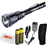Nitecore MH40GT 1000 Lumen Rechargeable LED Flashlight with 2x 18650 Batteries, Car Adapter, and Lumen Tactical Battery Organizer