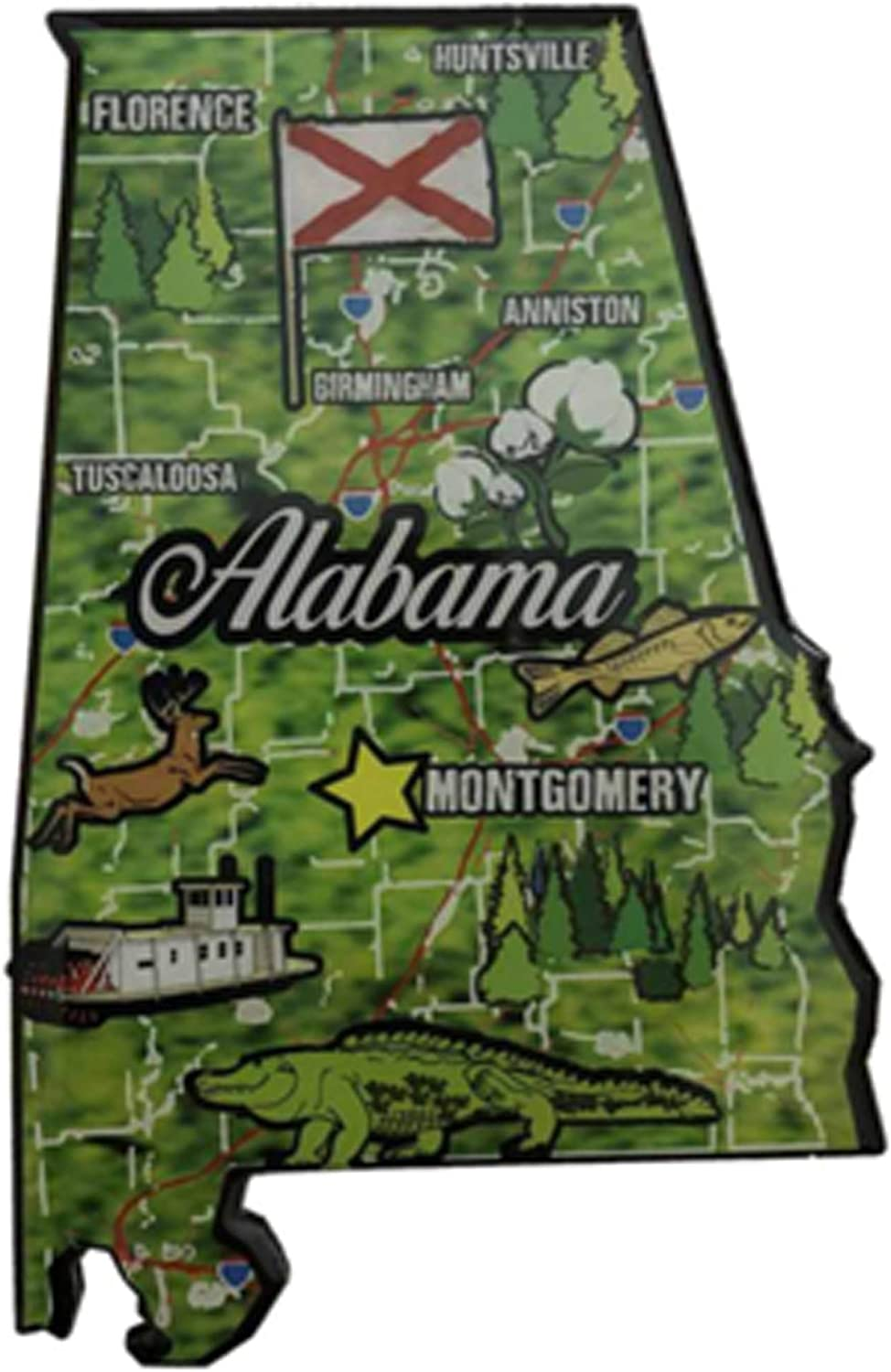 Alabama Wooden State Shaped Magnet Landmark Map Collage Exclusively Alabama the Heart of Dixie State Shaped Refrigerator Magnet
