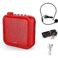 QINGTIAN Amplificador de Voz,Sistema de PA Recargable de 12 vatios (1200 mAh) con micrófono con Cable para Maestros,guía…