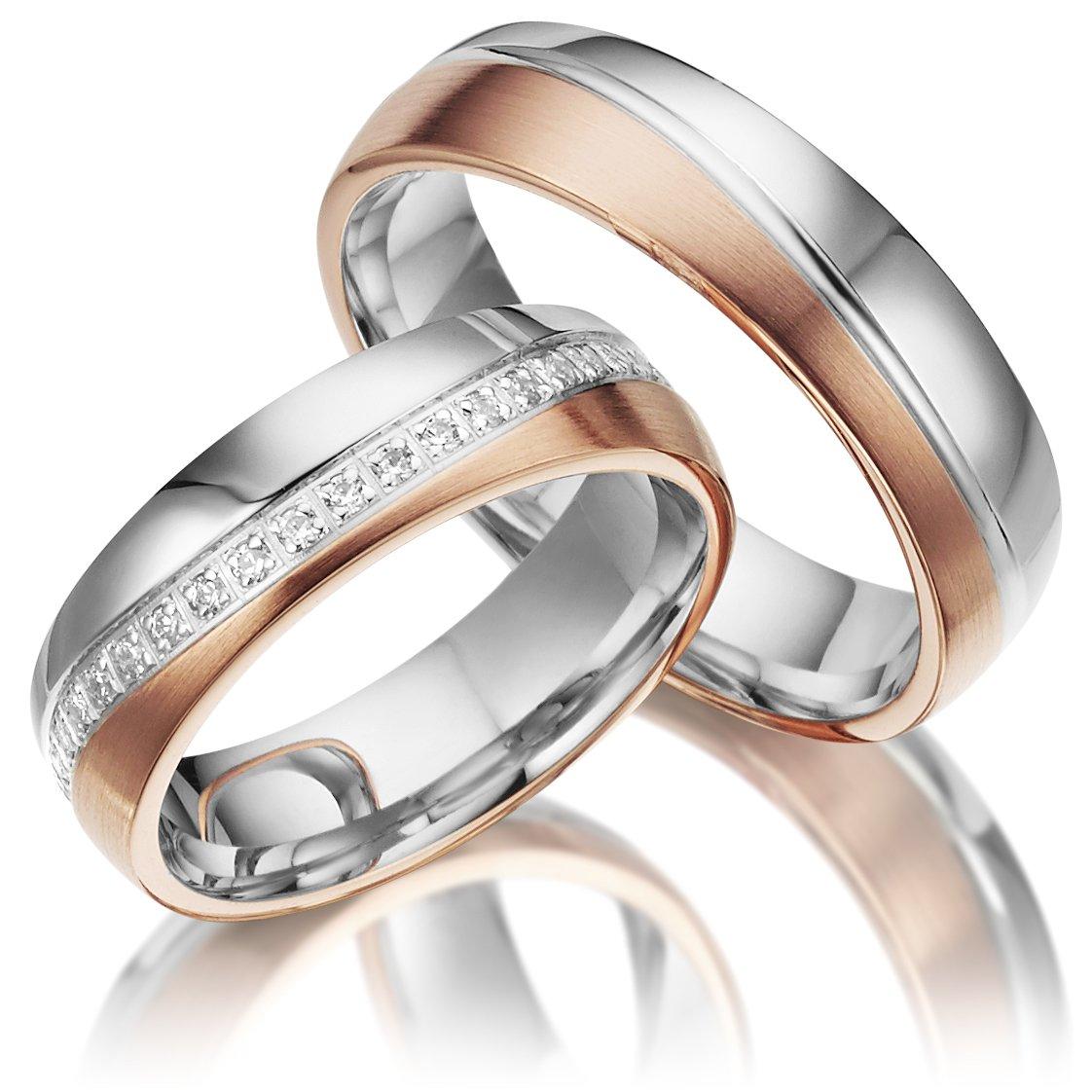 2 Trauringe aus 925 Silber PAARPREIS mit Gravur und Steinbesatz AG.37.925 Gratis zusätzlich ein Multisizer zur Größenermittlung Juwelier Rubin