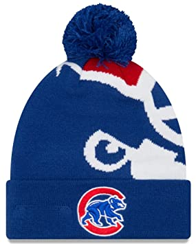7551af802ba Image Unavailable. Image not available for. Colour  Chicago Cubs New Era  MLB  quot Logo Whiz 3 quot  Cuffed Knit Hat with Pom