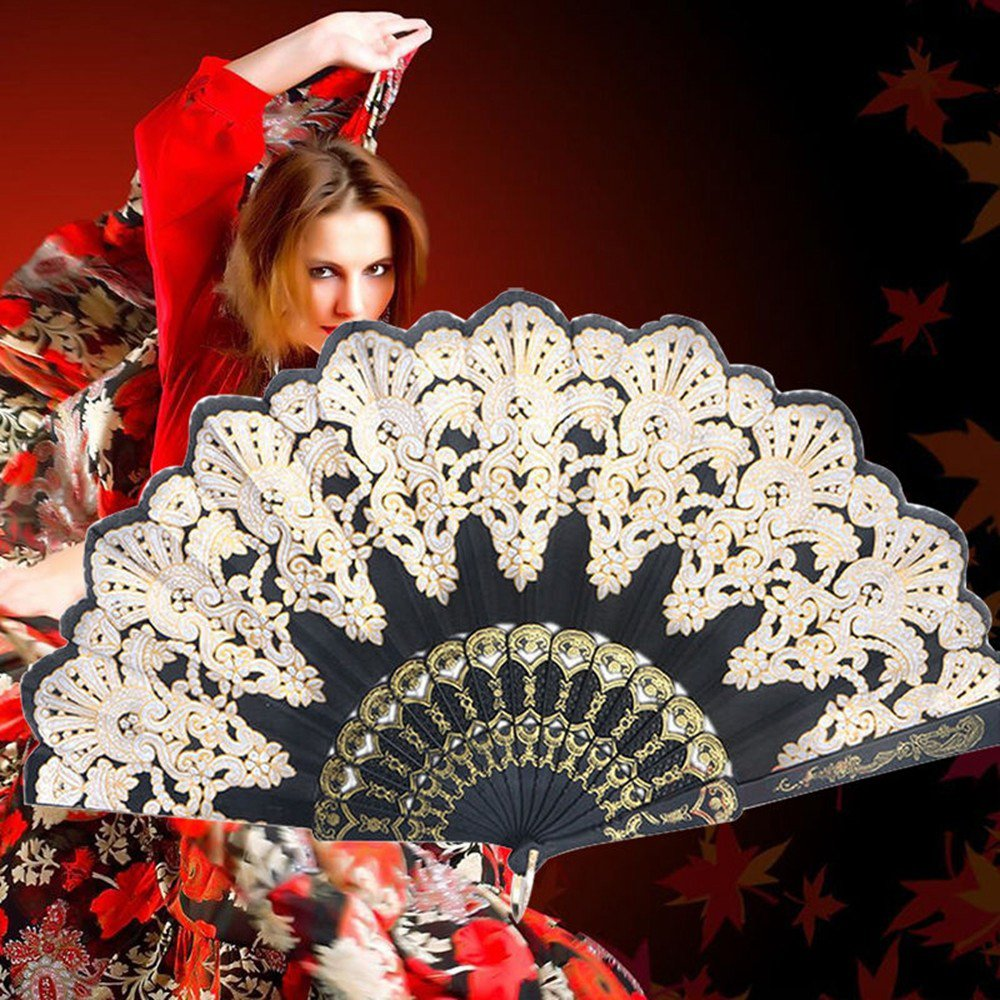 Spanish Bronzing Flowers Folding Hand Dance Fan Frame Pattern Party Wedding UK