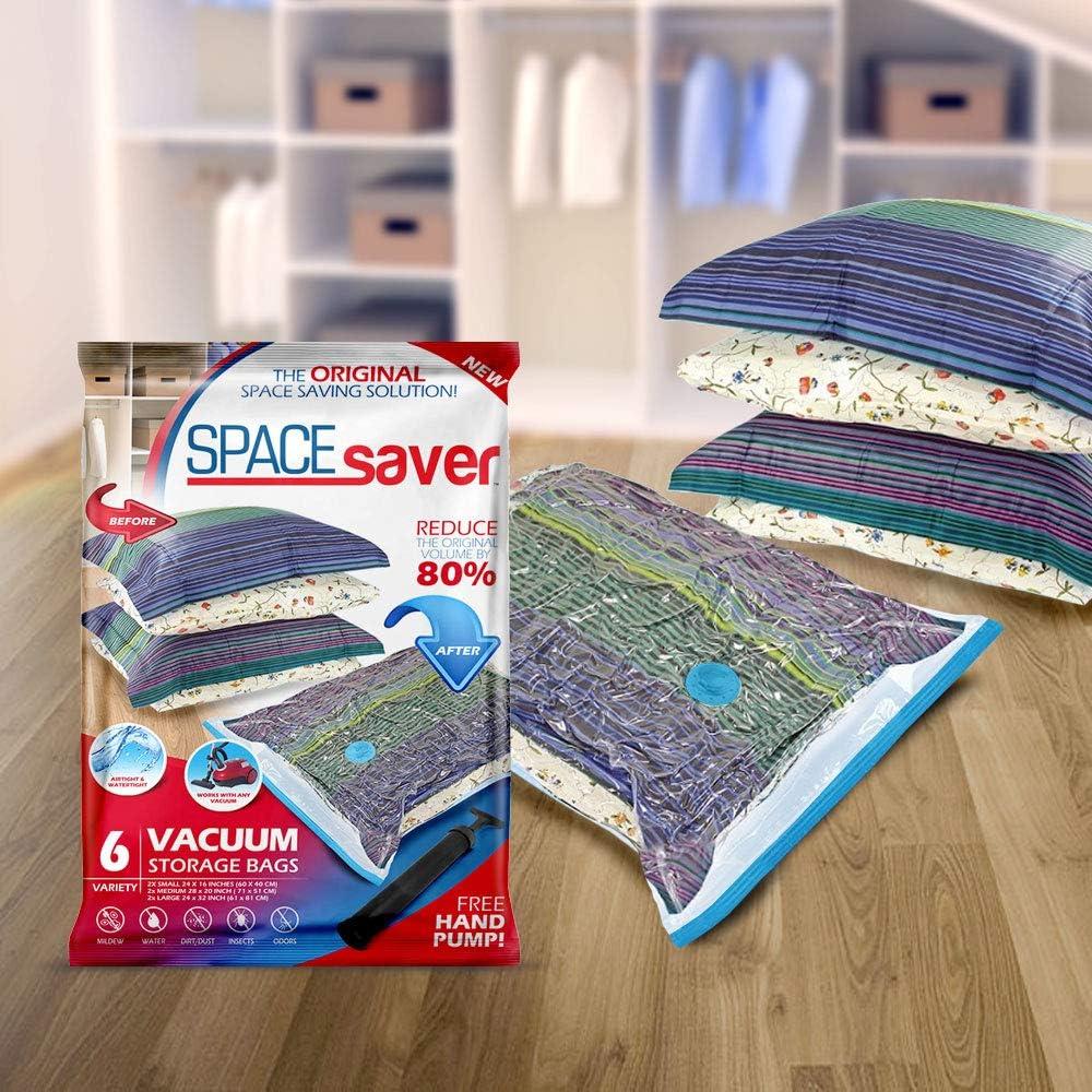 SpaceSaver Premium Vakuum-Aufbewahrungsbeutel 80/% mehr Stauraum Doppelrei/ßverschluss und Dreifachdichtung Handpumpe f/ür Reisen Jumbo 4 pack Turbo-Ventil f/ür maximale Platzsparung