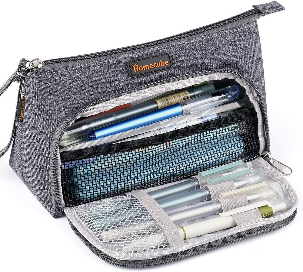 Homecube Pencil Case Medium Capacity Storage Stationery organizer Pen Makeup Pouch Bag Holder School Supplies for Middle High School Office College Girl Adult - Dark Gray