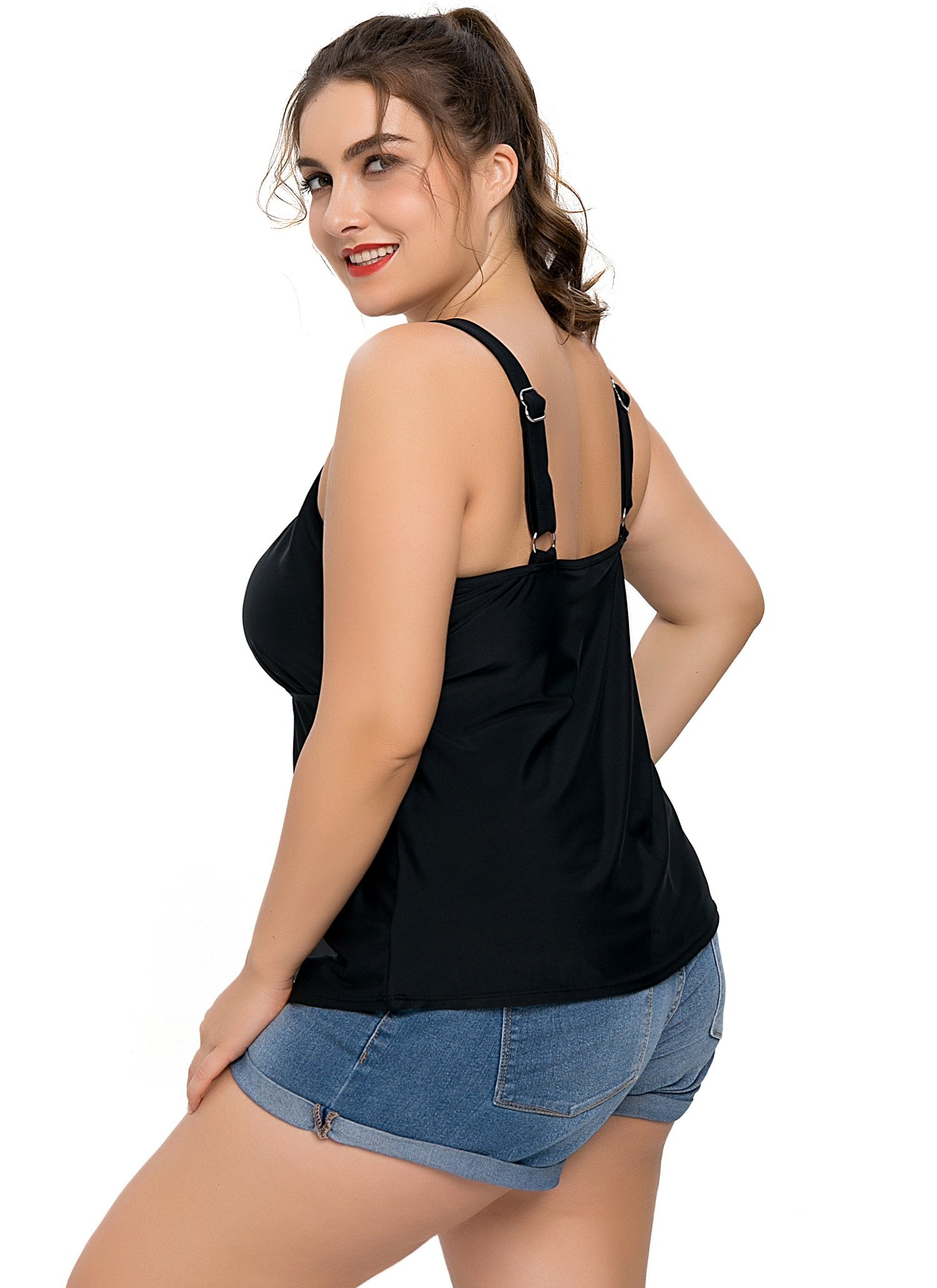 Anwell Womens's Loose Fit Black Solid Tankini Top Plus Size Swimsuit Shirt 18 by Anwell (Image #6)