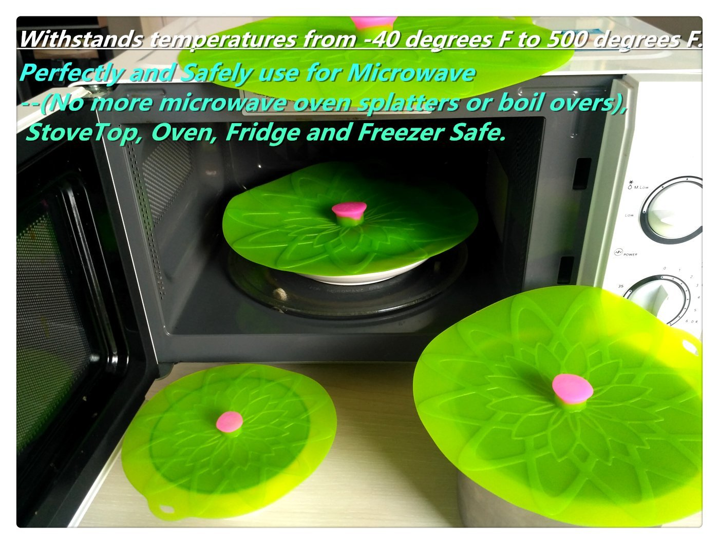 Kuke Silicone Suction Lids Set of 3 Silicone Bowl Lids Reusable Suction Seal Covers for Microwaves Bowls Pots Cups Food Cover (Green) by Kuke (Image #3)