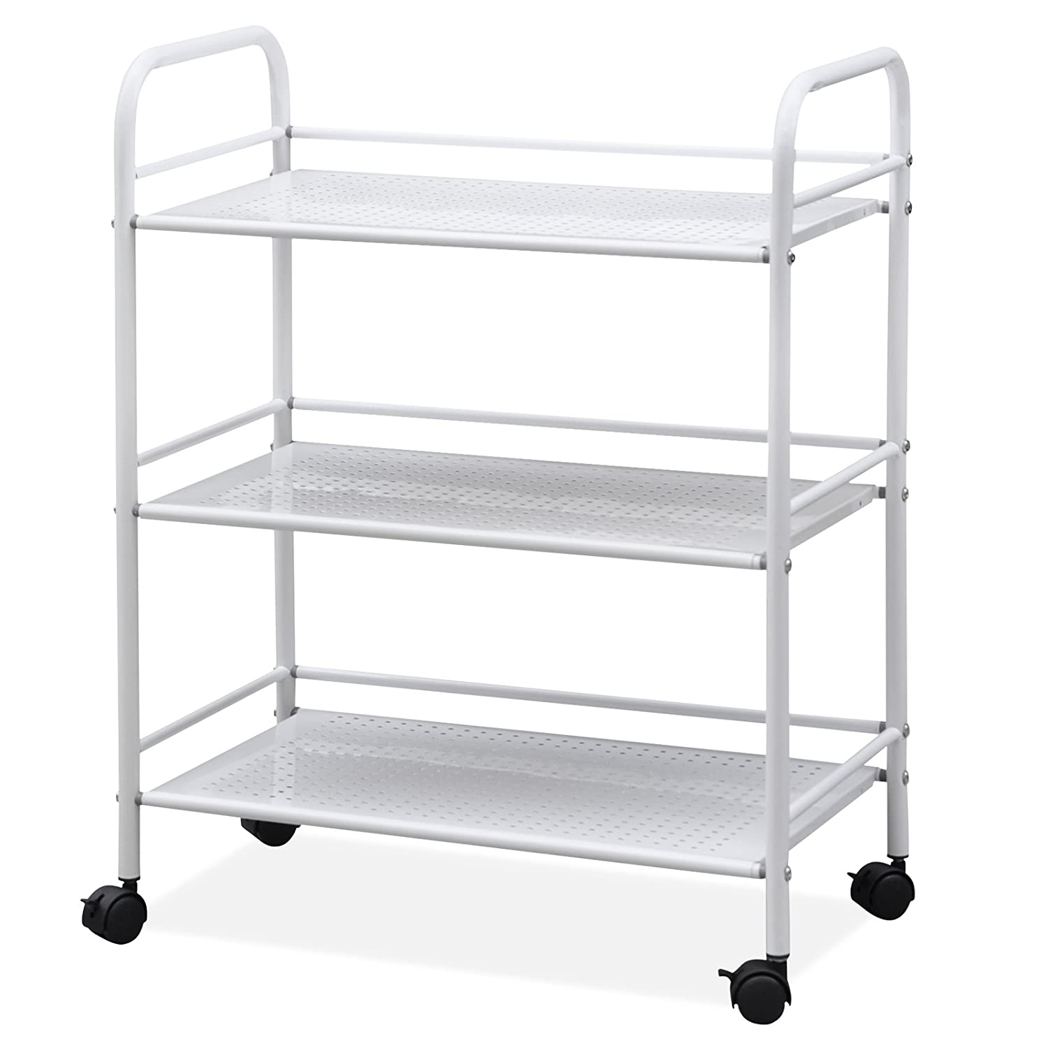 Outdoortips 3-Tier Beauty Salon Storage Cart Dentist Wax Treatment Tattoo Shelf Trolley (L) OD-1013