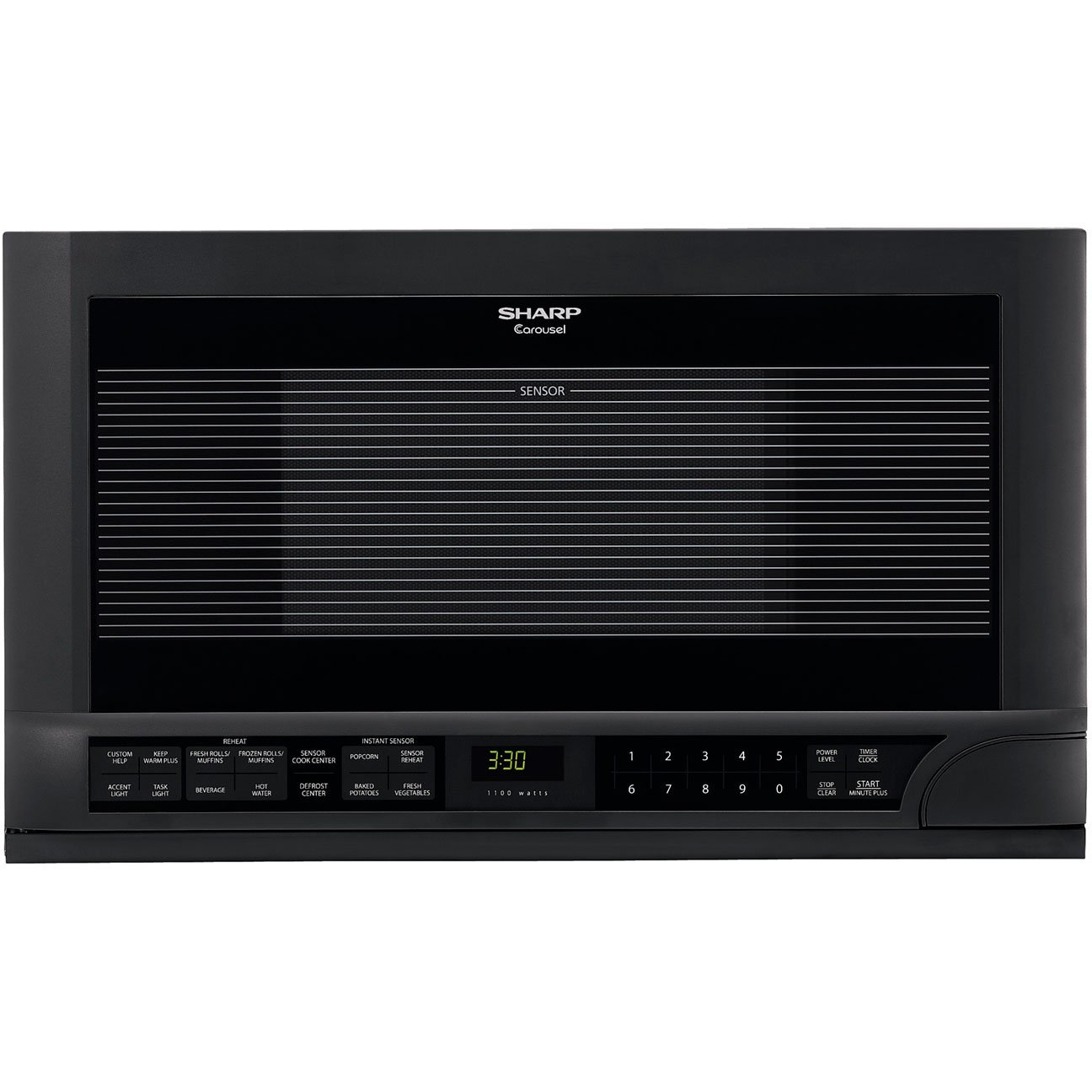 Sharp 1.5 Cubic Foot 1100 Watt Over-the-Counter Microwave Oven (Black)