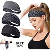 Headbands for Women,Tersely 3 Pack Women Sport Workout Yoga Headband Non Slip Lightweight Soft Wicking Stretchy Multi Style Bandana Head Wrap Ideal for Fitness Exercise