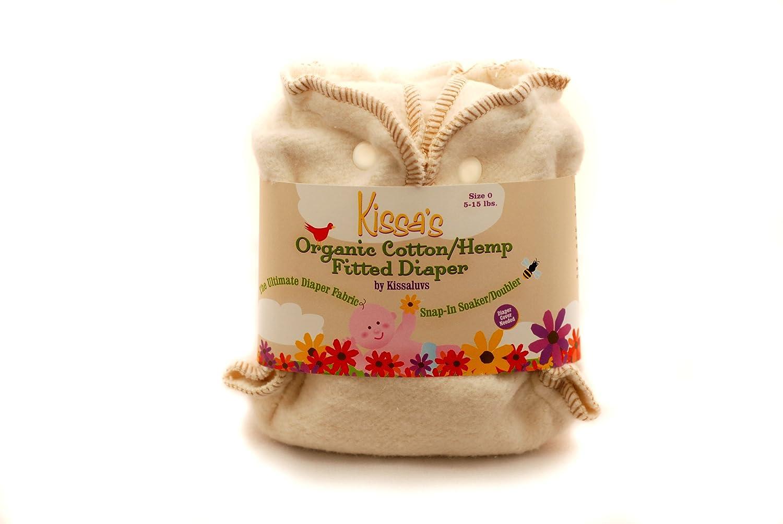 Kissa's Organic Cotton/Hemp Fitted Diaper, Unbleached, Newborn 5-15lbs Kissaluvs D0H