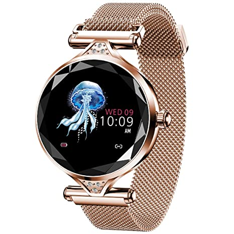 Pard New Womens Smart Watch, Elegant Heart Rate Blood Pressure Fitness Tracker, Gold