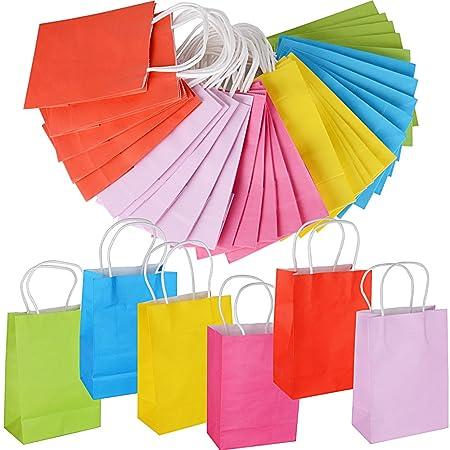 30pcs Bolsas Papel Kraft Multicolor con Asas para Regalos Navidad Fiesta Compras Alimentos 21 * 15 * 8cm 6 colores