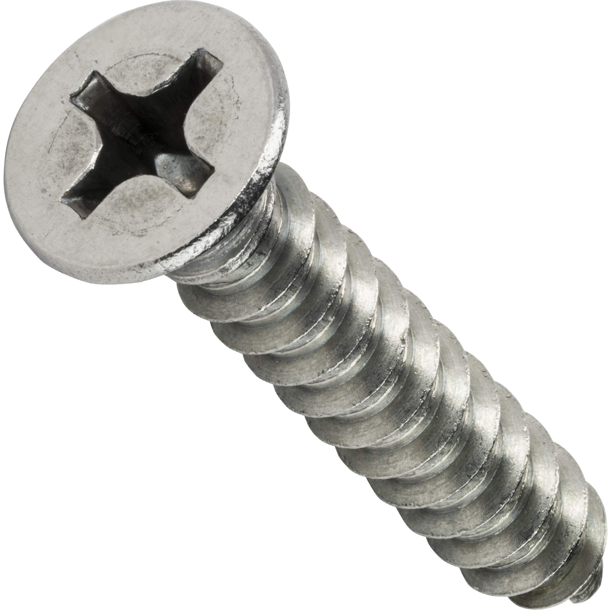 #12 x 2'' Flat Head Sheet Metal Screws, Phillips Drive, Stainless Steel 18-8, Full Thread, Bright Finish, Self-Tapping, Quantity 500 by Fastenere by Fastenere