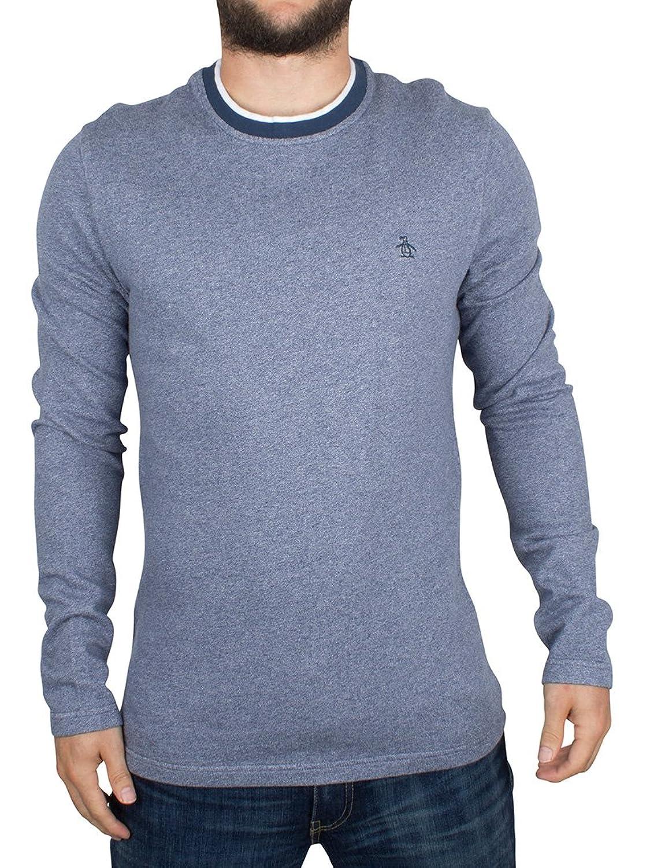 Original Penguin Herren Jaspe Terry steinig Logo-Sweatshirt, Blau
