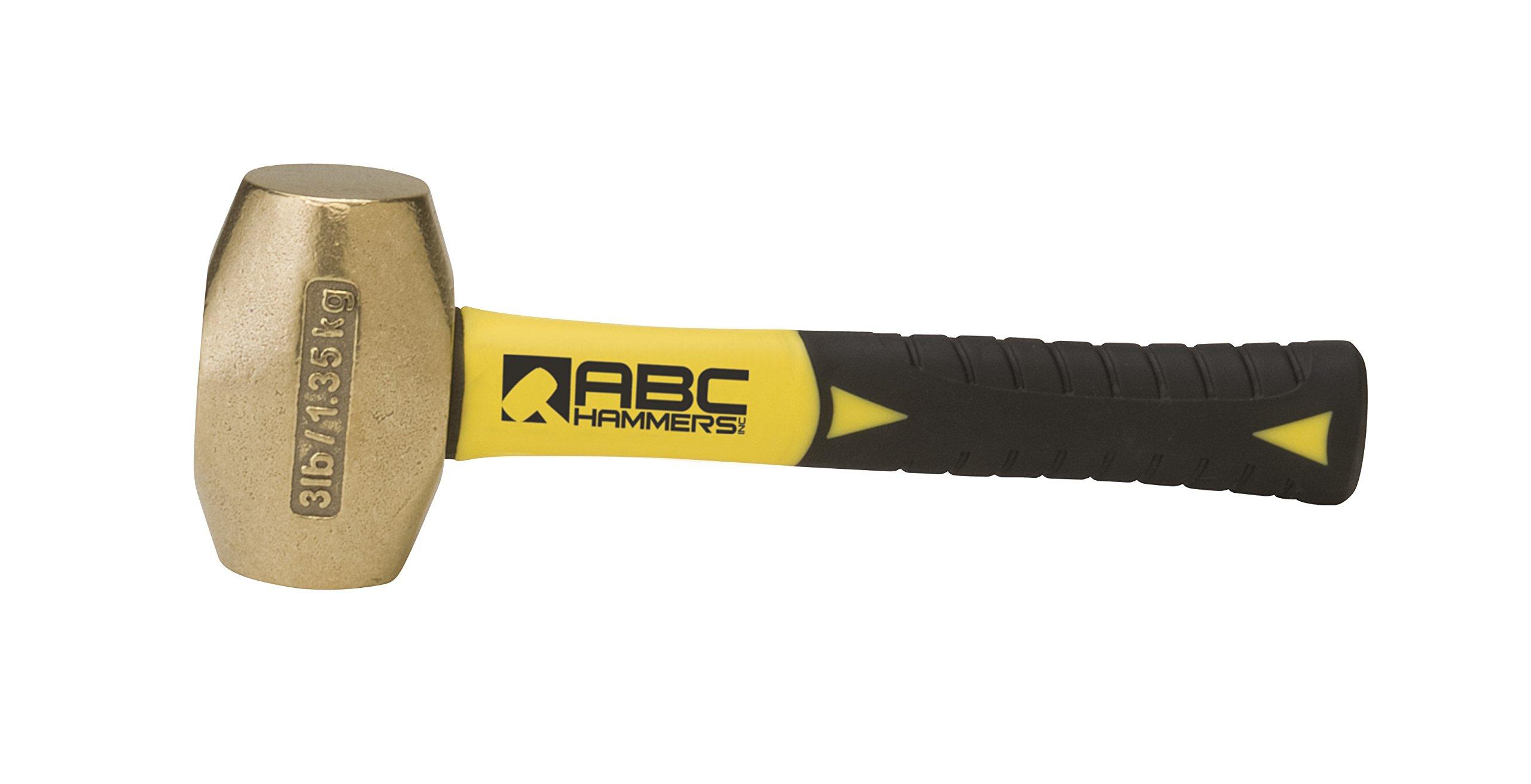 ABC Hammers ABC3BFS Brass Hammer with 8-Inch Fiberglass Handle, 3-Pound