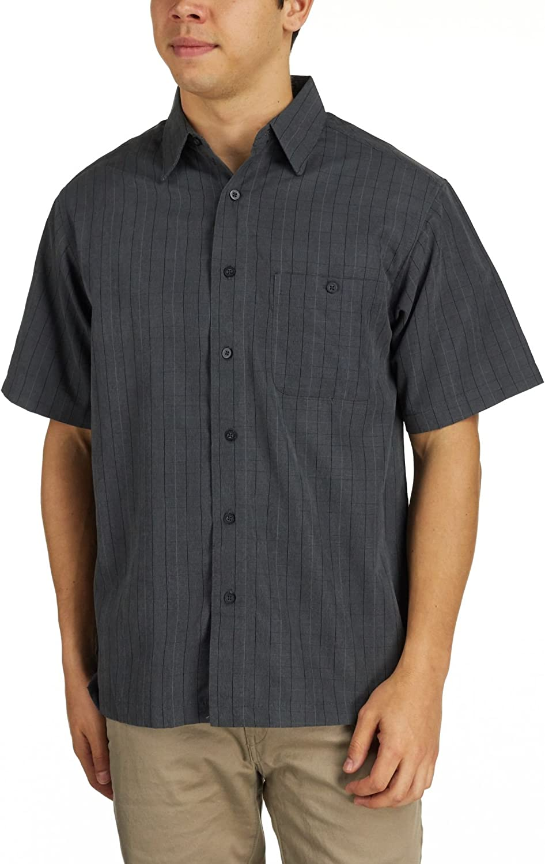 Haggar Mens Short Sleeve Microfiber Plaid Shirt
