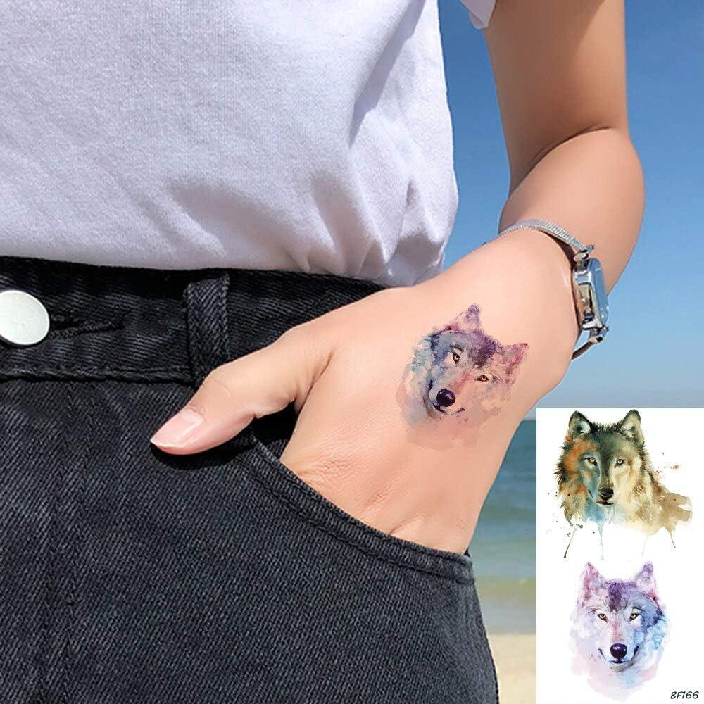 tzxdbh 5 Unids Acuarela Lobo Animales Impermeables Tatuajes ...