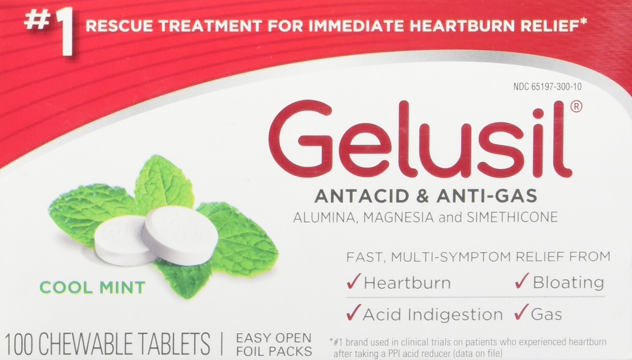 Gelusil Antacid & Anti Gas Tablets for Heartburn Relief, Acid Reflux, Bloating and Gas, Cool Mint - 100ct Blister Pack