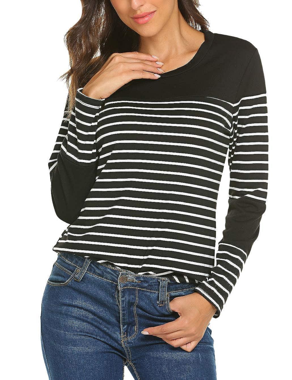 Women Tops Long Sleeve Tee Shirt Striped Cotton Knit T-Shirt Soft Tunic Blouse